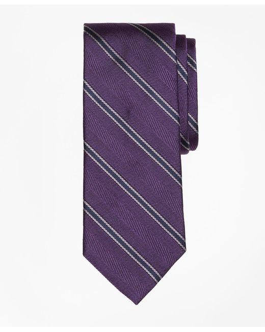 Brooks Brothers | Purple Herringbone Framed Stripe Tie for Men | Lyst