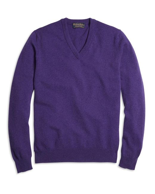 Brooks Brothers - Purple Cashmere V-neck Sweater for Men - Lyst
