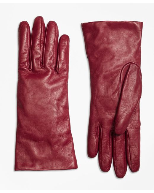 Brooks Brothers | Red Cashmere Lined Leather Gloves | Lyst