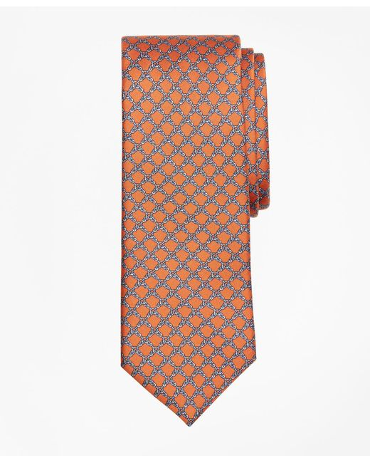 Brooks Brothers - Orange Square Link Print Tie for Men - Lyst