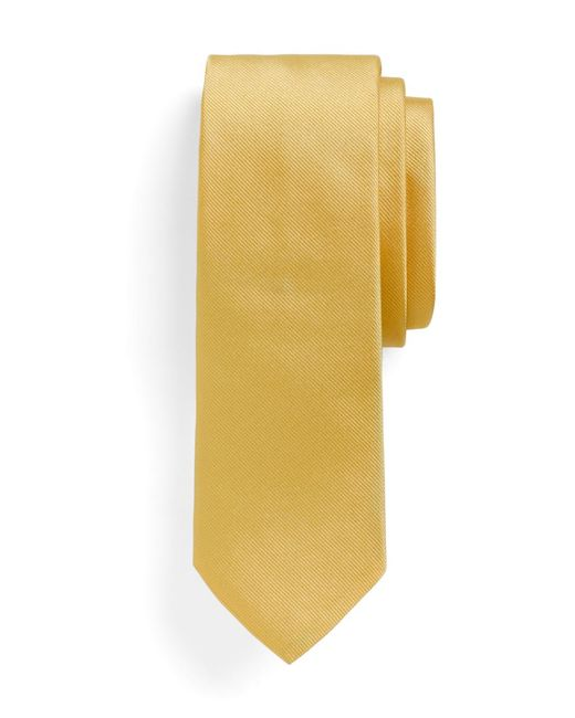Brooks Brothers - Yellow Solid Slim Tie for Men - Lyst