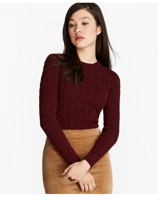 Brooks Brothers - Red Cashmere Cable Crewneck Sweater - Lyst