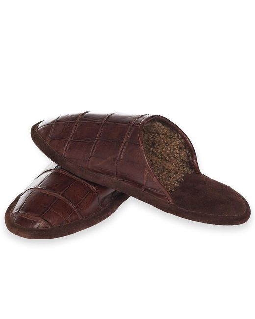 Brooks Brothers - Brown Crocodile Slippers for Men - Lyst