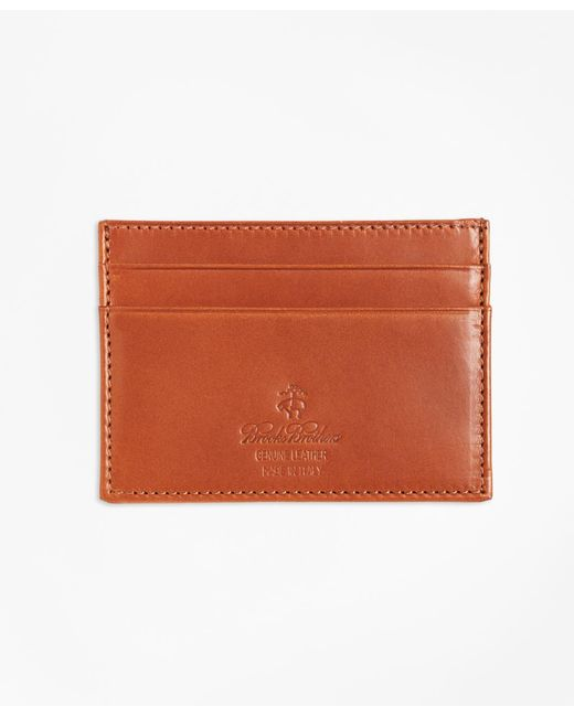 Brooks Brothers - Brown Vegetable Tanned Leather Card Case for Men - Lyst