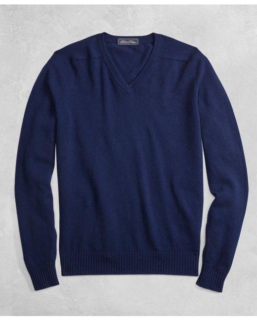 Brooks Brothers - Blue Golden Fleece® 3-d Knit Cashmere V-neck Sweater for Men - Lyst