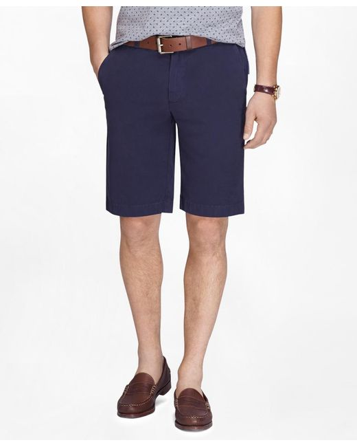 "Brooks Brothers | Blue Garment-dyed 11"" Lightweight Cotton Bermuda Shorts for Men 