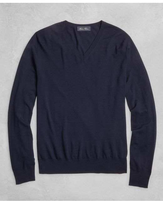 Brooks Brothers - Blue Golden Fleece® 3-d Knit Fine-gauge Merino V-neck Sweater for Men - Lyst