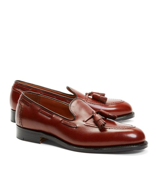 Brooks Brothers - Brown Textured Tassel Loafers for Men - Lyst