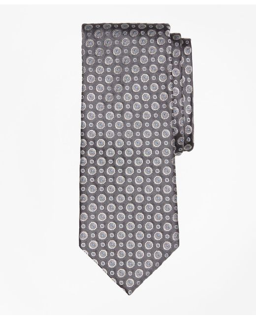 Brooks Brothers - Gray Floral Alternating Medallion Tie for Men - Lyst