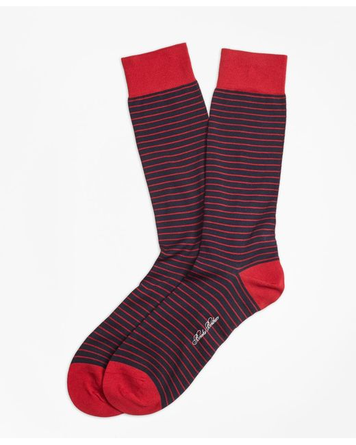 Brooks Brothers | Red Bright Stripe Crew Socks for Men | Lyst