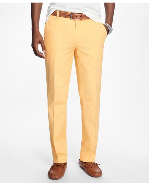 Brooks Brothers - Yellow Milano Fit Supima® Cotton Poplin Pants for Men - Lyst