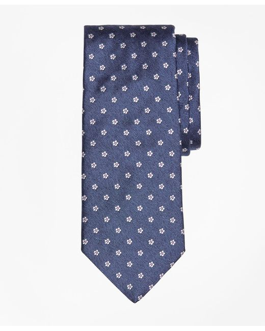Brooks Brothers - Blue Herringbone Ground Flower Tie for Men - Lyst