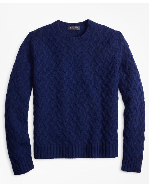 Brooks Brothers - Blue Traveling Cable Crewneck Sweater for Men - Lyst