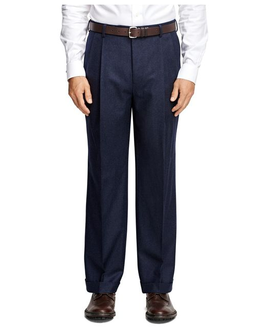 Brooks Brothers - Blue Madison Fit Pleat-front Flannel Trousers for Men - Lyst