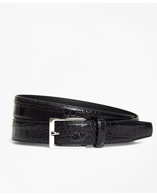 Brooks Brothers - Black Embossed Leather Belt for Men - Lyst