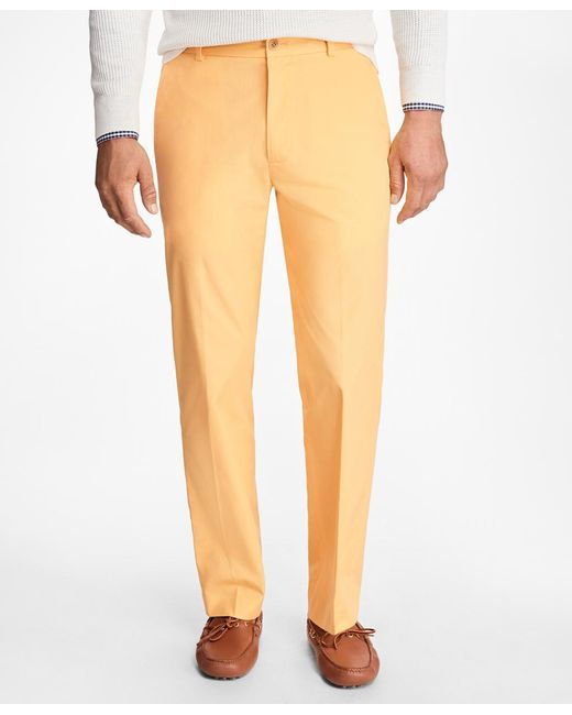 Brooks Brothers | Yellow Clark Fit Supima® Cotton Poplin Pants for Men | Lyst