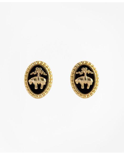 Brooks Brothers | Metallic Gold-plate & Enamel Golden Fleece® Stud Earrings | Lyst
