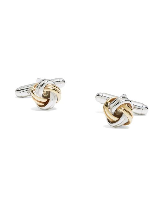 Brooks Brothers | Metallic Gold-on-silver Knot Cuff Links for Men | Lyst
