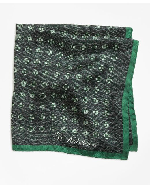 Brooks Brothers - Green Geo Rose Pocket Square for Men - Lyst
