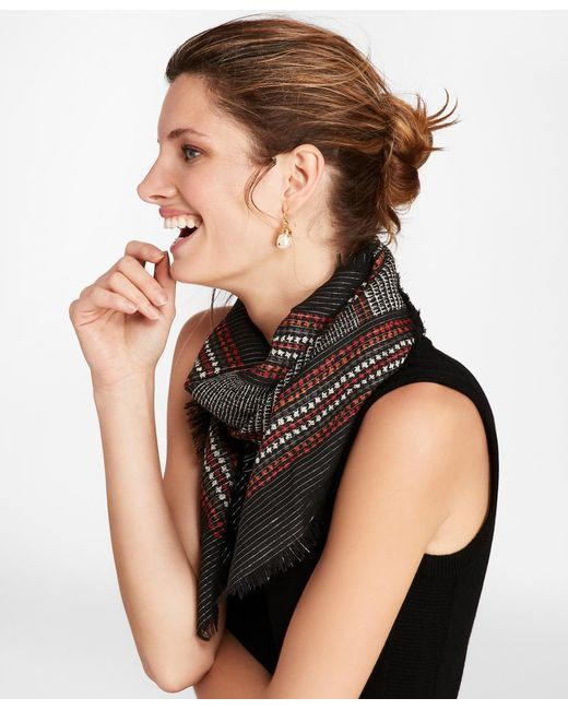 Brooks Brothers - Gray Glen Plaid Shimmer Wool-silk Square Scarf - Lyst