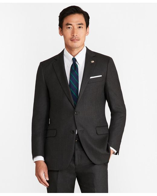 Brooks Brothers - Gray Fitzgerald Fit Saxxontm Wool Herringbone 1818 Suit for Men - Lyst