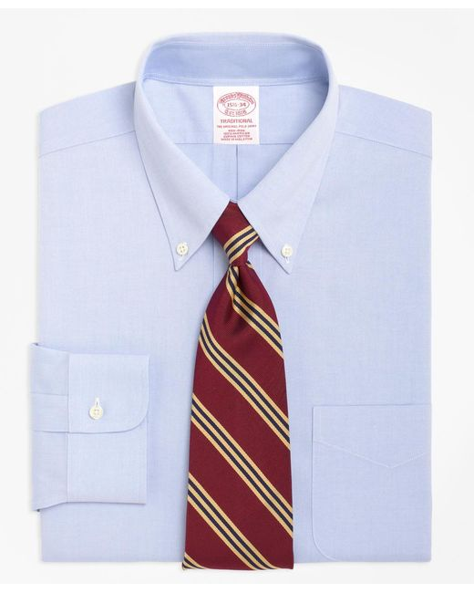 Brooks Brothers   Blue Non-iron Traditional Fit Button-down Collar Dress Shirt for Men   Lyst