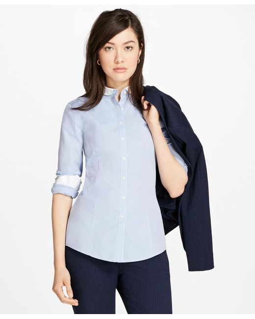 Brooks Brothers | Blue Non-iron Dobby-stripe Tailored Shirt | Lyst