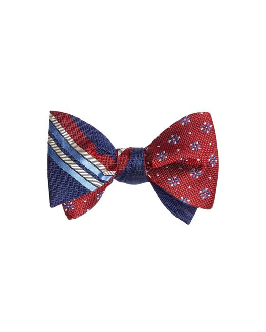 Brooks Brothers - Blue Multi-textured Sidewheeler Stripe With Textured Four-petal Flower Reversible Bow Tie for Men - Lyst
