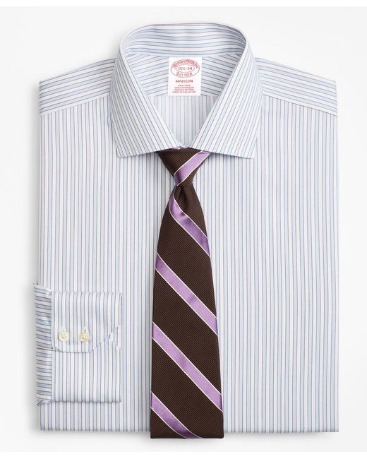 Brooks Brothers - Blue Madison Classic-fit Dress Shirt, Non-iron Hairline Framed Stripe for Men - Lyst