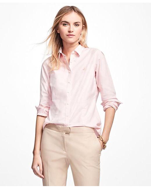 Brooks Brothers - Pink Petite Non-iron Tailored-fit Supima® Cotton Dress Shirt - Lyst