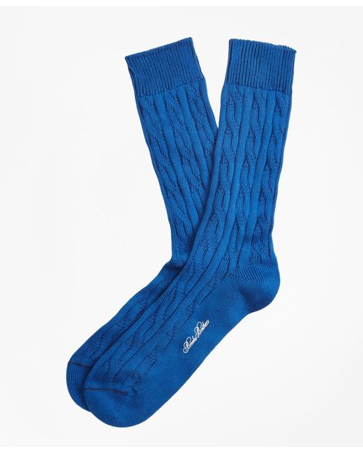 Brooks Brothers - Blue Cable Crew Socks for Men - Lyst