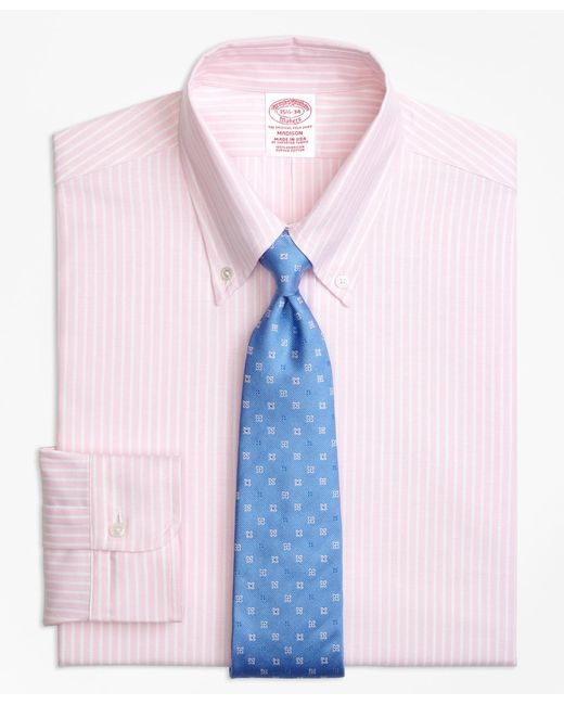 Brooks Brothers - Pink Original Polo® Button-down Oxford Madison Classic-fit Dress Shirt, Ground Stripe for Men - Lyst