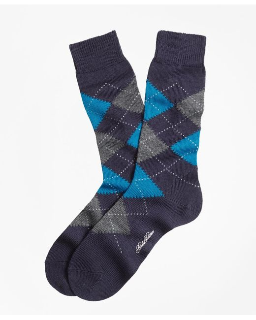 Brooks Brothers - Blue Argyle Crew Socks for Men - Lyst