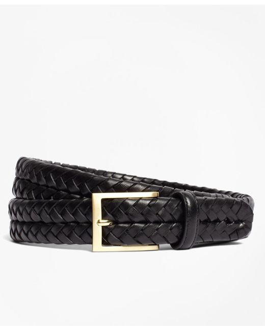 Brooks Brothers - Black Leather Braided Belt for Men - Lyst