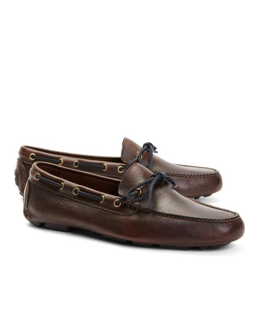 Brooks Brothers - Brown Pebble Leather Driving Mocs for Men - Lyst