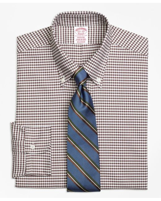 Brooks Brothers - Brown Madison Fit Original Polo® Button-down Oxford Gingham Dress Shirt for Men - Lyst