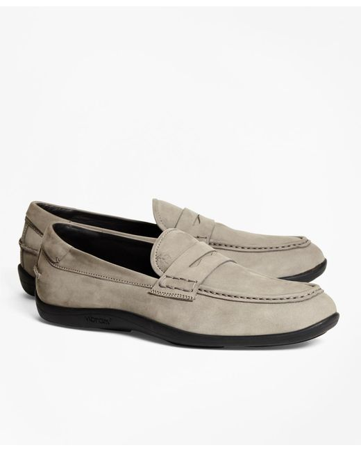 Brooks Brothers - Gray 1818 Footwear Suede Penny Moccasins for Men - Lyst