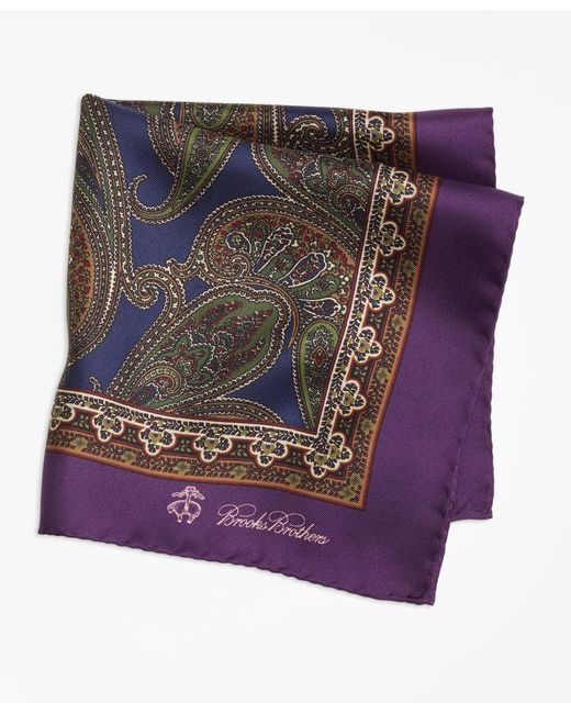 Brooks Brothers - Purple Paisley Pocket Square for Men - Lyst