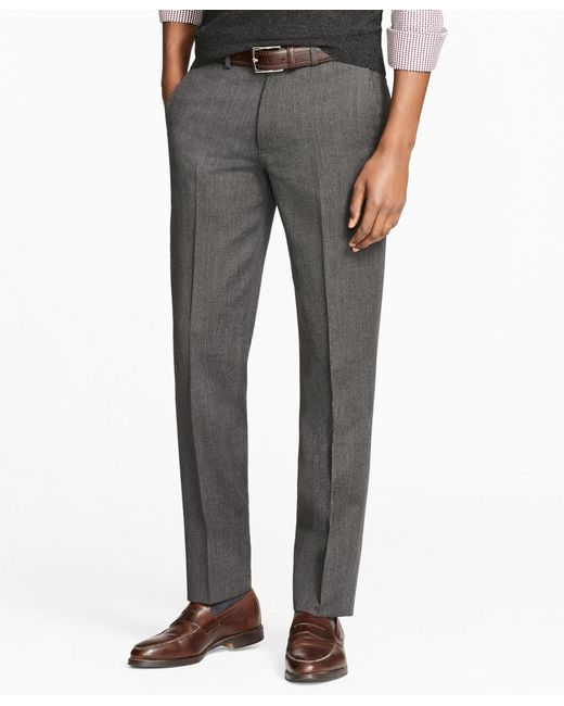 Brooks Brothers - Gray Milano Fit Stretch Wool Trousers for Men - Lyst