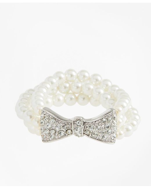 Brooks Brothers - Metallic Glass Pearl And Rhinestone Bow Bracelet - Lyst
