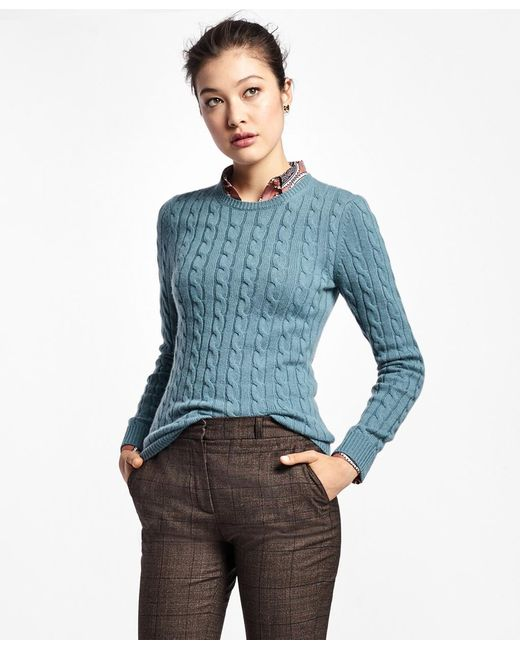 Brooks Brothers - Blue Cashmere Cable Crewneck Sweater - Lyst