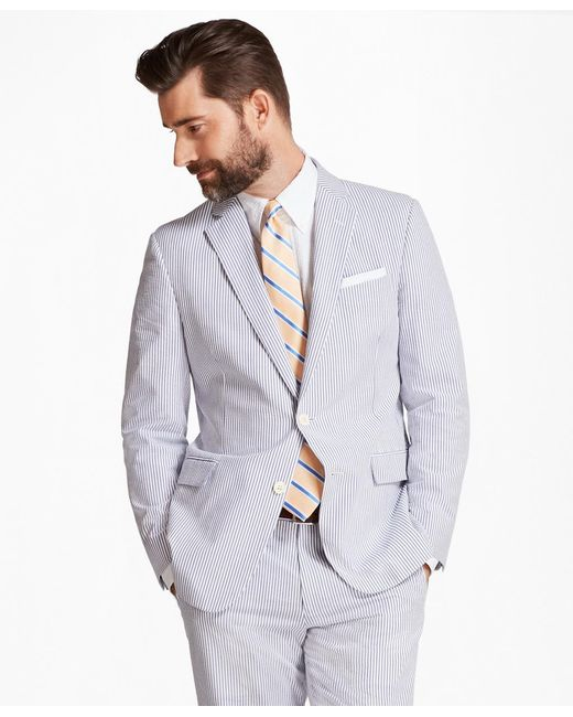 Brooks Brothers - Blue Regent Fit Stripe Seersucker Suit for Men - Lyst