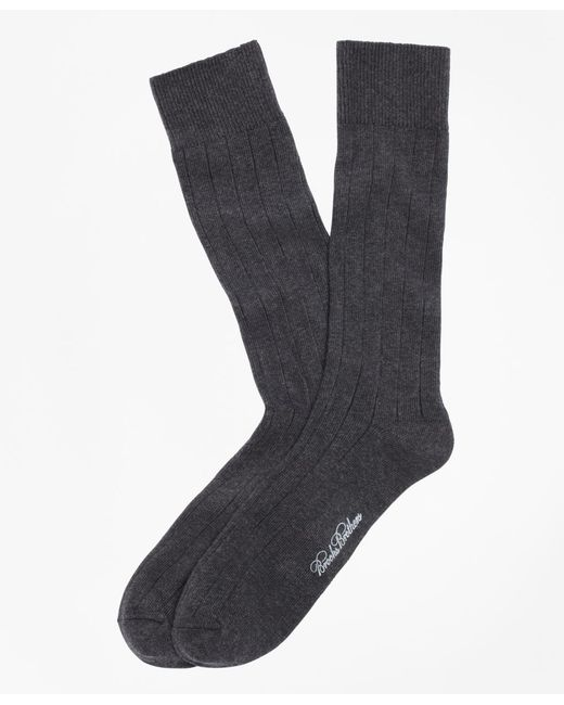 Brooks Brothers - Gray Ribbed Crew Socks for Men - Lyst