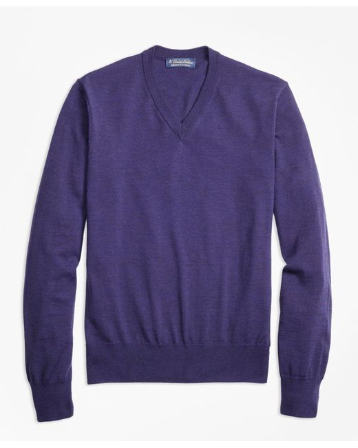 Brooks Brothers | Purple Brookstech Merino Wool V-neck Sweater for Men | Lyst