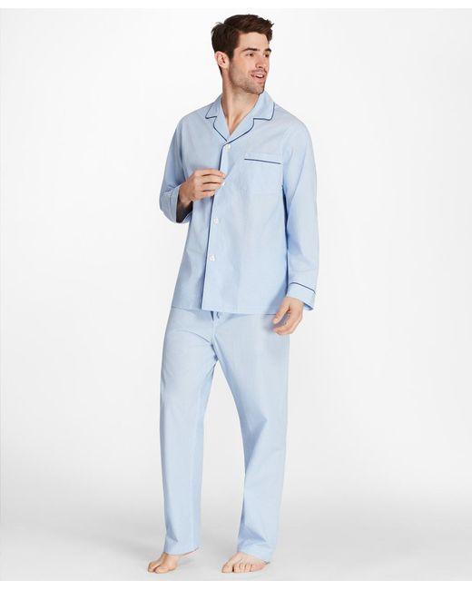 Brooks Brothers - Blue Sidewheeler Gingham Pajamas for Men - Lyst