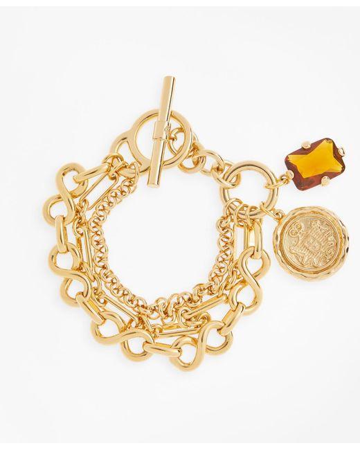 Brooks Brothers - Metallic Gold-plated Three-layer Chain Charm Bracelet - Lyst