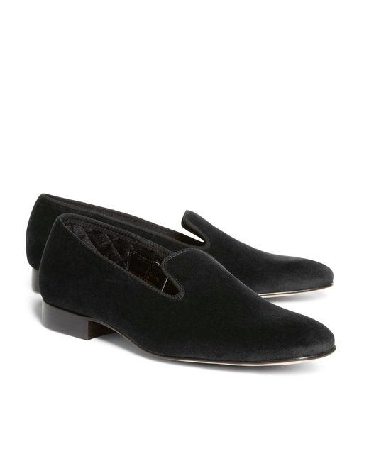 Brooks Brothers - Black Velvet Slippers for Men - Lyst