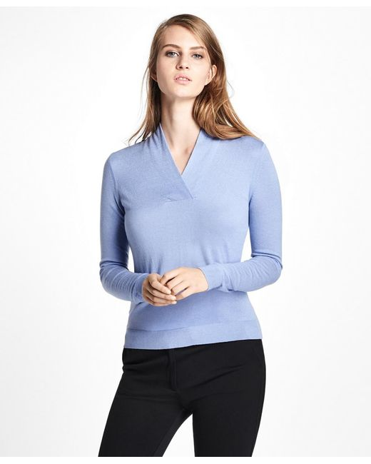 Brooks Brothers - Blue Silk-cashmere Shawl-collar Sweater - Lyst