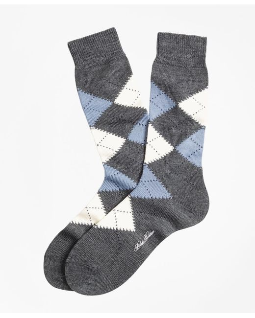 Brooks Brothers | Gray Argyle Crew Socks for Men | Lyst