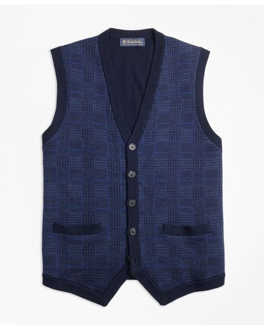 Brooks Brothers | Blue Merino Wool Plaid Waist Coat for Men | Lyst